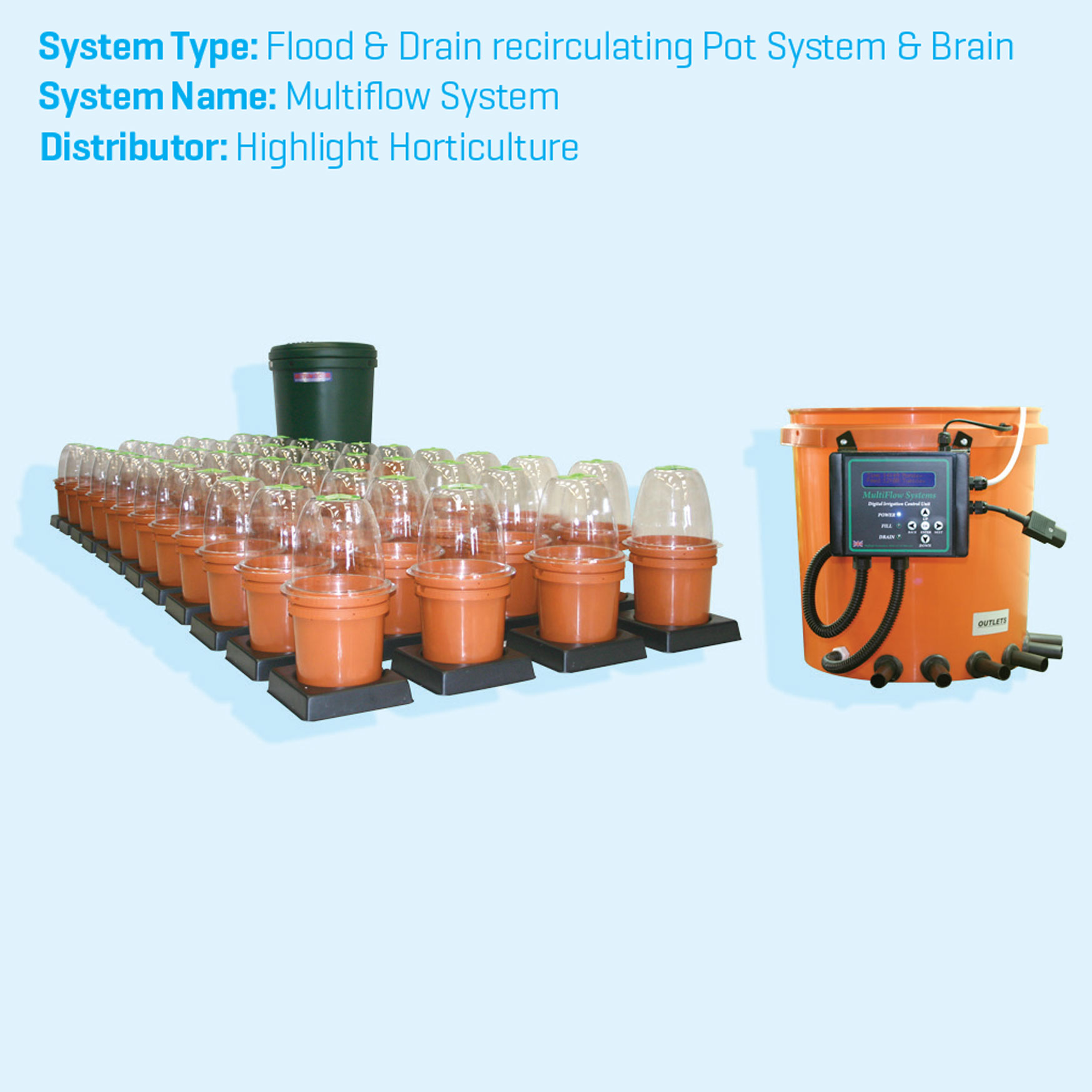 Multiflow Recirculating Flood and drain hydroponics systems