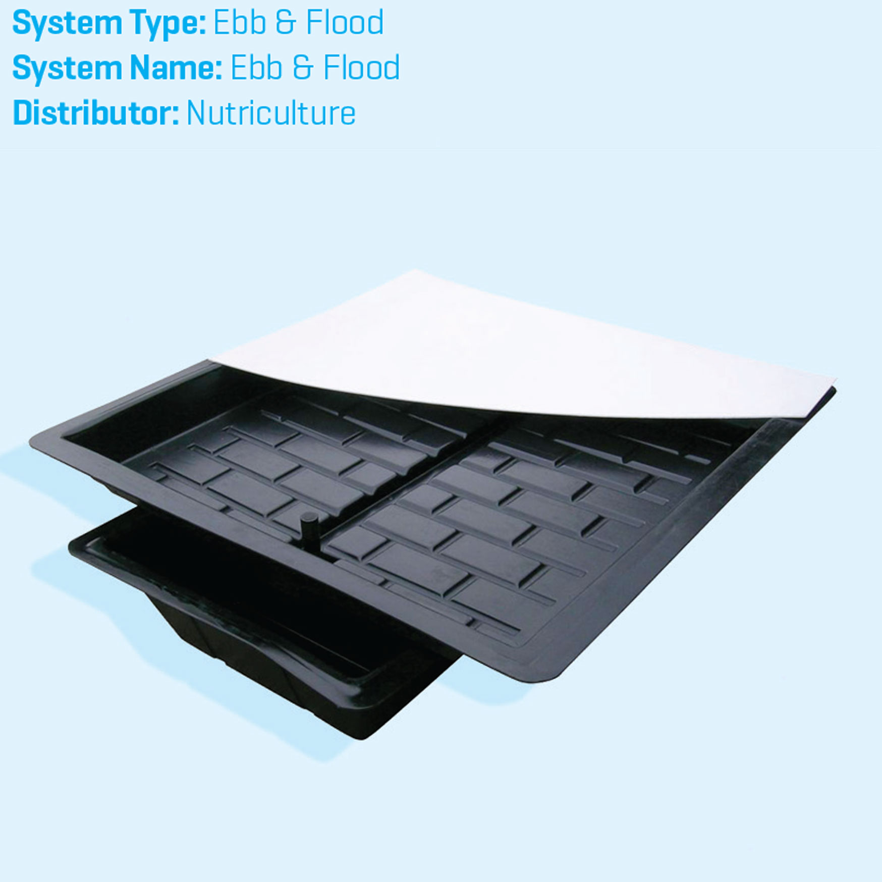 Ebb and flow tray hydroponics system